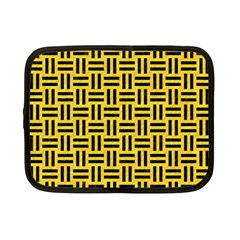 Woven1 Black Marble & Yellow Colored Pencil Netbook Case (small)