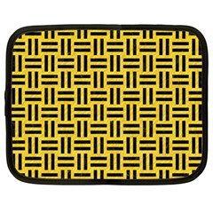 Woven1 Black Marble & Yellow Colored Pencil Netbook Case (large)