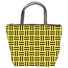 Woven1 Black Marble & Yellow Colored Pencil Bucket Bags
