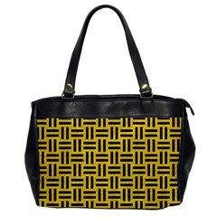 Woven1 Black Marble & Yellow Colored Pencil Office Handbags