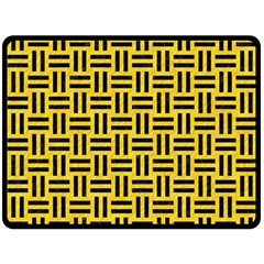 Woven1 Black Marble & Yellow Colored Pencil Fleece Blanket (large)