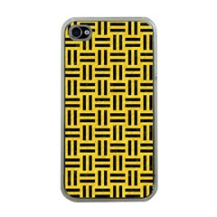 Woven1 Black Marble & Yellow Colored Pencil Apple Iphone 4 Case (clear)