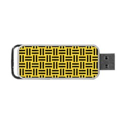 Woven1 Black Marble & Yellow Colored Pencil Portable Usb Flash (two Sides)