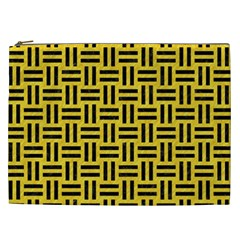 Woven1 Black Marble & Yellow Colored Pencil Cosmetic Bag (xxl)