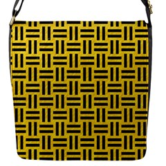 Woven1 Black Marble & Yellow Colored Pencil Flap Messenger Bag (s)