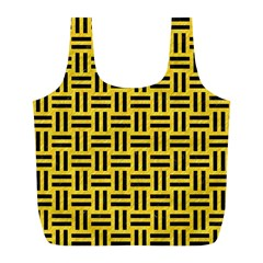 Woven1 Black Marble & Yellow Colored Pencil Full Print Recycle Bags (l)