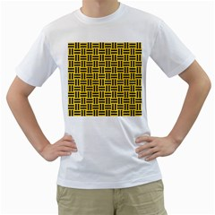 Woven1 Black Marble & Yellow Colored Pencil Men s T Shirt (white)