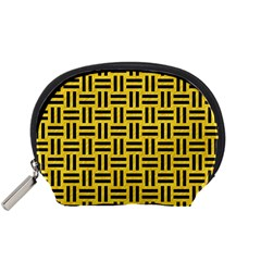 Woven1 Black Marble & Yellow Colored Pencil Accessory Pouches (small)