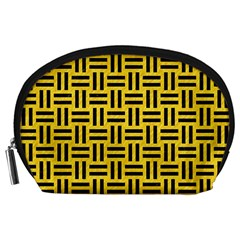 Woven1 Black Marble & Yellow Colored Pencil Accessory Pouches (large)