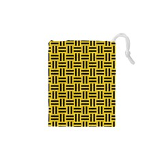 Woven1 Black Marble & Yellow Colored Pencil Drawstring Pouches (xs)