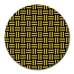 Woven1 Black Marble & Yellow Colored Pencil (r) Round Mousepads