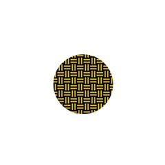 Woven1 Black Marble & Yellow Colored Pencil (r) 1  Mini Buttons