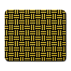 Woven1 Black Marble & Yellow Colored Pencil (r) Large Mousepads