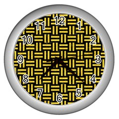 Woven1 Black Marble & Yellow Colored Pencil (r) Wall Clocks (silver)