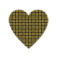Woven1 Black Marble & Yellow Colored Pencil (r) Heart Magnet