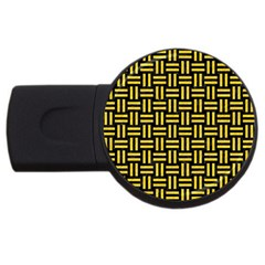 Woven1 Black Marble & Yellow Colored Pencil (r) Usb Flash Drive Round (2 Gb)