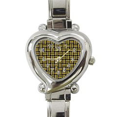 Woven1 Black Marble & Yellow Colored Pencil (r) Heart Italian Charm Watch