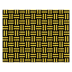 Woven1 Black Marble & Yellow Colored Pencil (r) Rectangular Jigsaw Puzzl