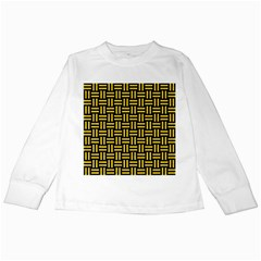 Woven1 Black Marble & Yellow Colored Pencil (r) Kids Long Sleeve T Shirts