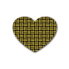 Woven1 Black Marble & Yellow Colored Pencil (r) Heart Coaster (4 Pack)