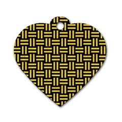 Woven1 Black Marble & Yellow Colored Pencil (r) Dog Tag Heart (one Side)