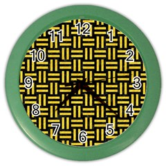 Woven1 Black Marble & Yellow Colored Pencil (r) Color Wall Clocks