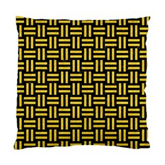 Woven1 Black Marble & Yellow Colored Pencil (r) Standard Cushion Case (two Sides)