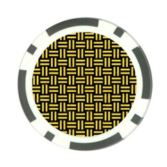 Woven1 Black Marble & Yellow Colored Pencil (r) Poker Chip Card Guard (10 Pack)