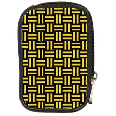 Woven1 Black Marble & Yellow Colored Pencil (r) Compact Camera Cases
