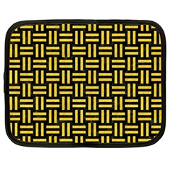 Woven1 Black Marble & Yellow Colored Pencil (r) Netbook Case (xxl)