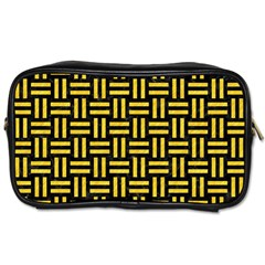 Woven1 Black Marble & Yellow Colored Pencil (r) Toiletries Bags 2 Side