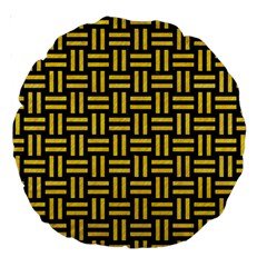 Woven1 Black Marble & Yellow Colored Pencil (r) Large 18  Premium Round Cushions