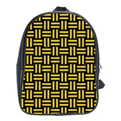 Woven1 Black Marble & Yellow Colored Pencil (r) School Bag (xl)