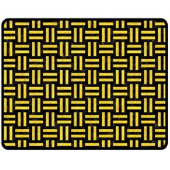 Woven1 Black Marble & Yellow Colored Pencil (r) Double Sided Fleece Blanket (medium)