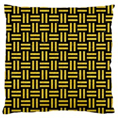 Woven1 Black Marble & Yellow Colored Pencil (r) Large Flano Cushion Case (two Sides)