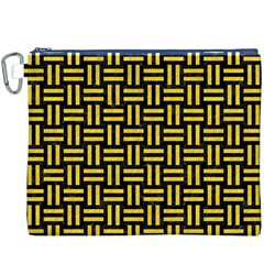 Woven1 Black Marble & Yellow Colored Pencil (r) Canvas Cosmetic Bag (xxxl)