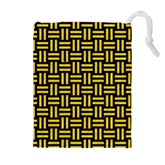 Woven1 Black Marble & Yellow Colored Pencil (r) Drawstring Pouches (extra Large)
