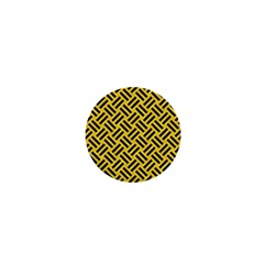 Woven2 Black Marble & Yellow Colored Pencil 1  Mini Magnets