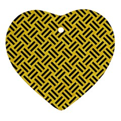 Woven2 Black Marble & Yellow Colored Pencil Ornament (heart)