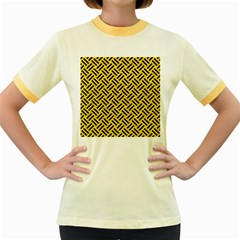 Woven2 Black Marble & Yellow Colored Pencil Women s Fitted Ringer T Shirts