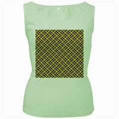 Woven2 Black Marble & Yellow Colored Pencil Women s Green Tank Top