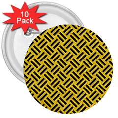 Woven2 Black Marble & Yellow Colored Pencil 3  Buttons (10 Pack)