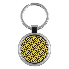 Woven2 Black Marble & Yellow Colored Pencil Key Chains (round)