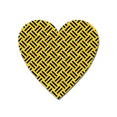 Woven2 Black Marble & Yellow Colored Pencil Heart Magnet