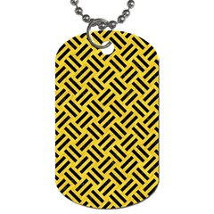 Woven2 Black Marble & Yellow Colored Pencil Dog Tag (one Side)