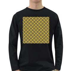 Woven2 Black Marble & Yellow Colored Pencil Long Sleeve Dark T Shirts