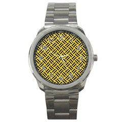 Woven2 Black Marble & Yellow Colored Pencil Sport Metal Watch