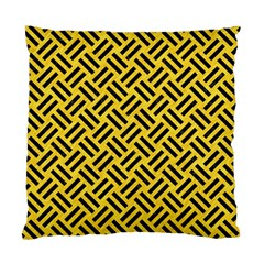 Woven2 Black Marble & Yellow Colored Pencil Standard Cushion Case (two Sides)
