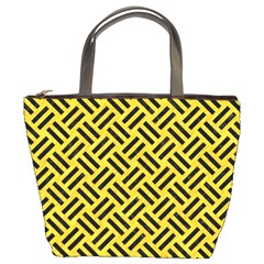 Woven2 Black Marble & Yellow Colored Pencil Bucket Bags
