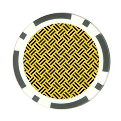 Woven2 Black Marble & Yellow Colored Pencil Poker Chip Card Guard (10 Pack)